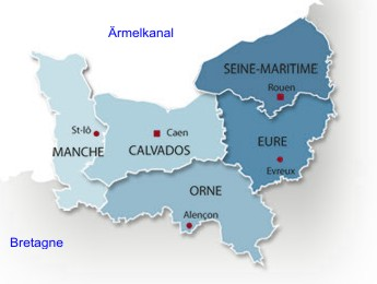 normandie karte Regionen der Normandie